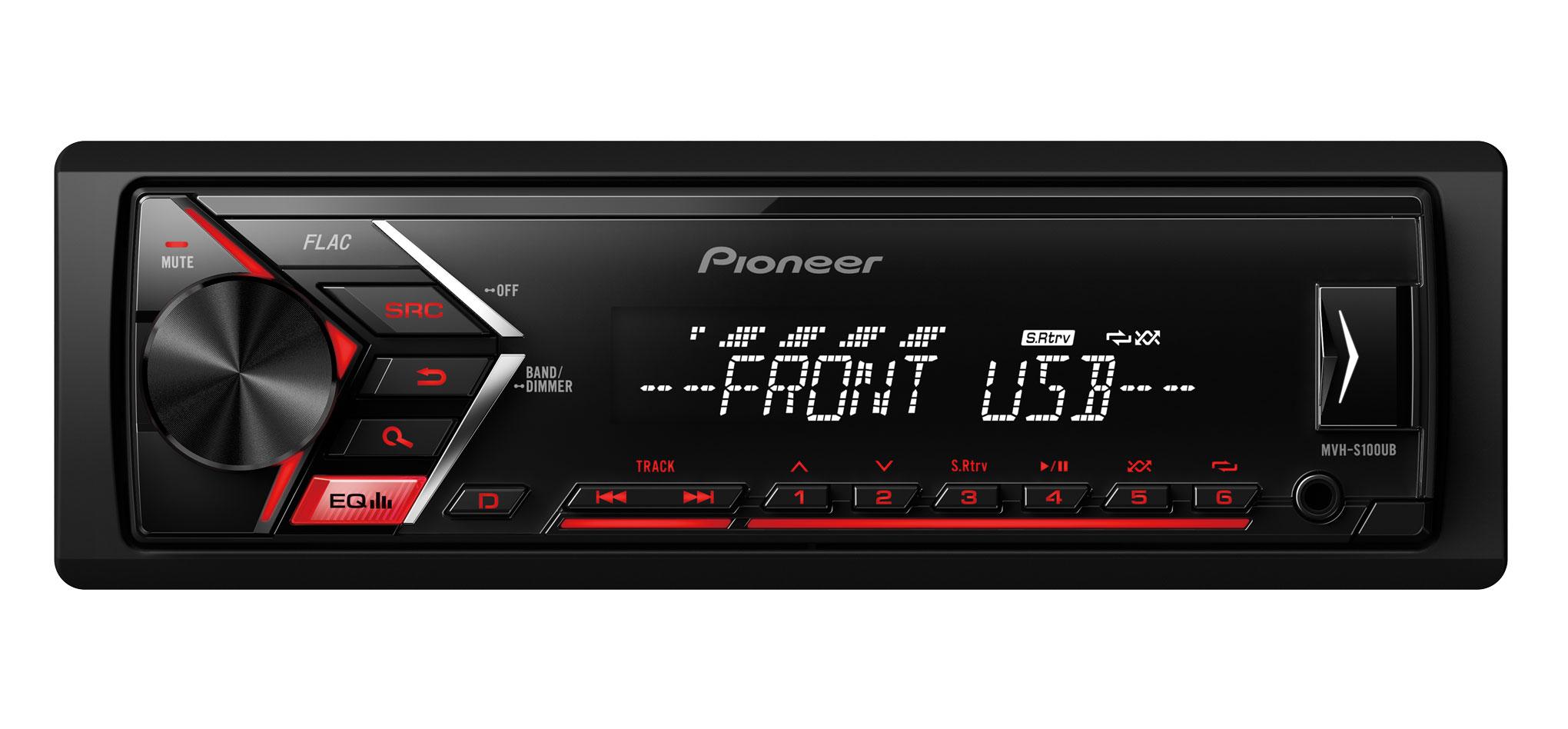 RADIO PIONEER MVH-S100UB USB,AUX CZERWONY