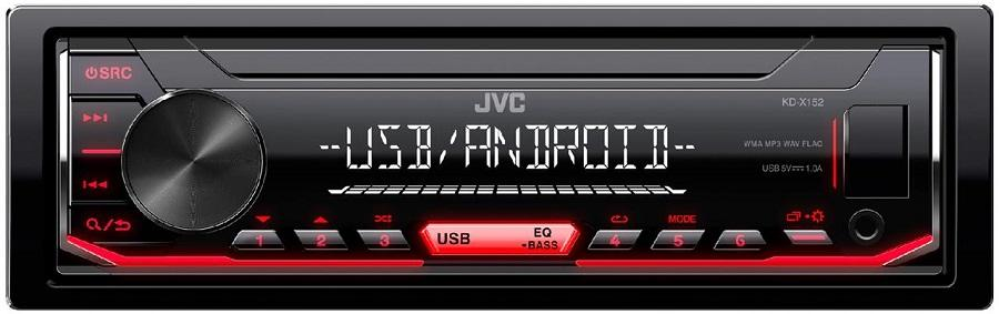 RADIO JVC KD-X152 AUX+USB RED